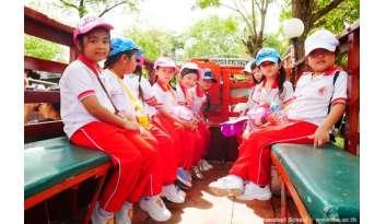 นักเรียนในระดับอนุบาลไปทัศนศึกษาที่หมู่บ้านหนองขาว